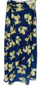 JOA Faux Wrap Navy Lemon Print Skirt Size Medium